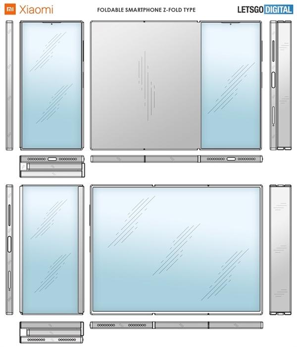 《【沐鸣娱乐合法吗】小米三折屏智能机设计专利曝光:正面展开后近9英寸》