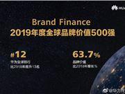 2019年度全球品牌价值500强 华为猛增63.7%位列12