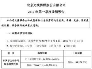 光线传媒预计Q1盈利7800万元到1亿元 同比下滑超90%