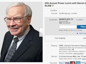 巴菲特2019年慈善午餐开拍 目前出价已超过11万美元