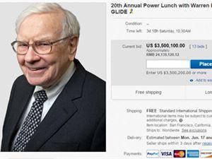 巴菲特慈善午餐竞拍价已达到350万美元 超过去年成交价并创下记录