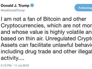 """美國總統特朗普:比特幣不是貨幣,是""""空氣幣"""""""