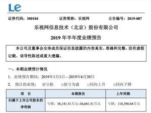 樂視網:預計上半年虧損3.61億元至3.66億元