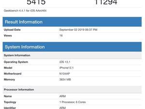 iPhone 11现身?A13处理器GB4跑分曝光:主频提升7%、单核性能增加12%