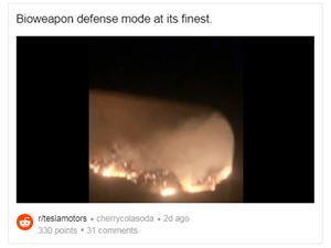 """特斯拉先进的""""生物武器防御模式""""功能被证明在加州野火中非常有效"""