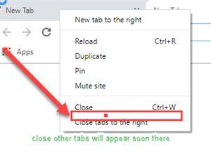"""谷歌恢復Chrome中的""""關閉其他標簽""""選項"""